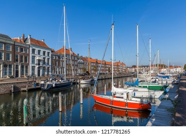MIDDELBURG, NETHERLANDS - OCTOBER 21, 2018: The colorful cityscape of Middelburg, Netherlands