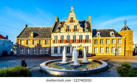 Middelburg / the Netherlands - Sept. 17, 2018: The medieval St. Jorisdoelen building in Historic City of Middelburg in Zeeland Province, the Netherlands