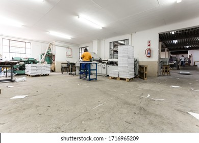 Middelburg, South Africa - February 2, 2015: Inside an empty Printing and Packaging Factory Facility