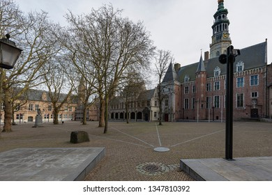 Middelburg - View to Middelburg Abbey (The Abbey of our Lady) is a former Premonstratensian abbey in Middelburg, Zeeland, Netherlands, 17.03.2019