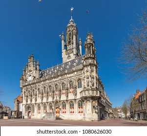 Middelburg - View To The Beautiful Town Hall Of Middelburg, Zeeland, Netherlands, 16.04.2018