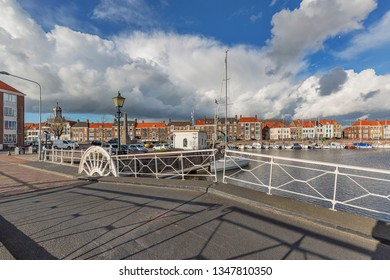 Middelburg - View to Middelburg Marina at Rotterdamsekaai with Turnbridge, Zeeland, Netherlands, 17.03.2019