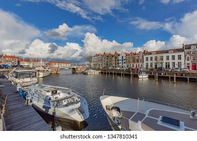 Middelburg - View to Turnbridge at Middelburg Marina at Rotterdamsekaai , Zeeland, Netherlands, 17.03.2019