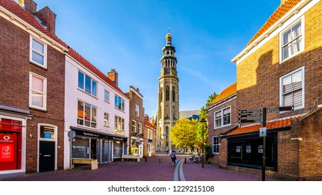Middelburg, Zeeland / the Netherlands - Sept. 17, 2018: Sunset over the Historic City of Middelburg with the Lange Jan Toren (Long John Tower) in the background in Zeeland Province, the Netherlands
