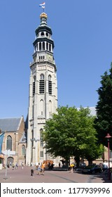 Middelburg, Zeeland, NLD - JUN 30, 2018 - 'Lange Jan' (church tower name 'Long John') seen from the 'Koorkerkstraat' (Church choir street) in Middelburg