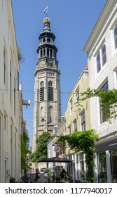 Middelburg, Zeeland, NLD - JUN 30, 2018 - 'Lange Jan' (church tower name 'Long John')seen from the 'Reigerstraat' (Heron street) in Middelburg