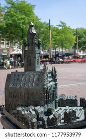 Middelburg, Zeeland, NLD - JUN 30, 2018 - Bronze model of the town hall in the city of Middelburg.