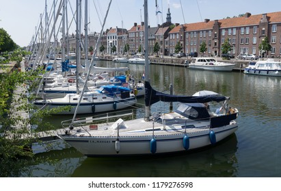 Middelburg, Zeeland, NLD - JUN 30, 2018 - House boats and sailing boats at the 'Rouaansekaai' Middelburg