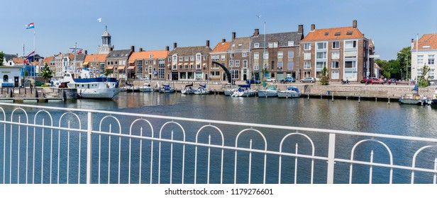 Middelburg, Zeeland, NLD - JUN 30, 2018 - View of the 'Rotterdamsekaai' (Rotterdam quay) from the 'Dokbrug' (Dock bridge) in Middelburg