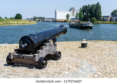 Middelburg, Zeeland, NLD - JUN 30, 2018 - Old cannon at the 'Maisbaai' (corn bay) in Middelburg