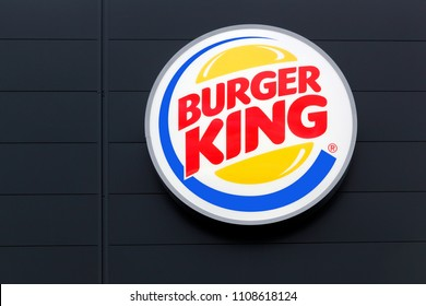 Middelfart, Denmark - March 13, 2018: Logo of the fast food chain Burger King. Burger King is a global chain of hamburger fast food restaurants
