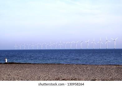 Middelgrunden which is an offshore wind farm in the Oresund 3 km outside Copenhagen