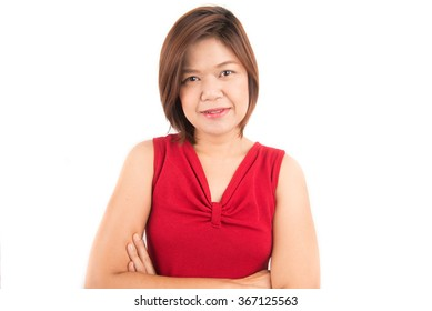 Middle age of asian woman on white background