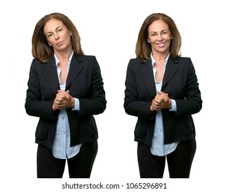 Middle age business woman confident and happy with a big natural smile laughing over white background