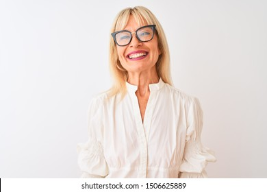Middle age businesswoman wearing shirt and glasses standing over isolated white background with a happy face standing and smiling with a confident smile showing teeth