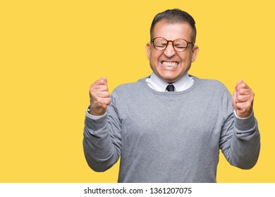 Middle age bussines arab man wearing glasses over isolated background excited for success with arms raised celebrating victory smiling. Winner concept.
