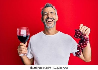 Middle age grey-haired man holding branch of fresh grapes and red wine smiling and laughing hard out loud because funny crazy joke.
