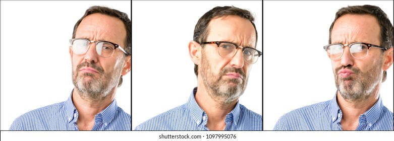 Middle age handsome man closeup irritated and angry expressing negative emotion, annoyed with someone