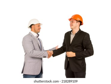 Middle Age Happy Client and Engineer Shaking Hands Isolated on White Background.