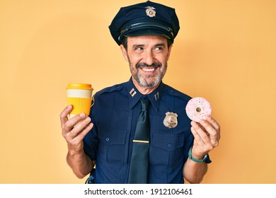 Middle age hispanic man wearing police uniform eating take away coffee and donut smiling looking to the side and staring away thinking.