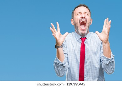 Middle age hoary senior business man wearing red tie over isolated background crazy and mad shouting and yelling with aggressive expression and arms raised. Frustration concept.