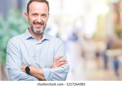 Middle age hoary senior business man over isolated background happy face smiling with crossed arms looking at the camera. Positive person.