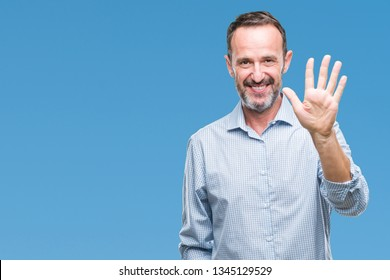 Middle age hoary senior business man over isolated background showing and pointing up with fingers number five while smiling confident and happy.