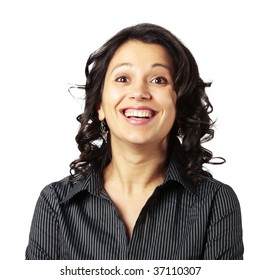 Middle age Latin woman very excited with her mouth and eyes wide opened looking in front of her isolated on white background