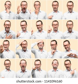 Middle age man, different emotions collage over yellow background