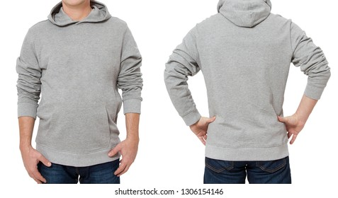 0d6f73cf Middle age man in gray sweatshirt template isolated. Male sweatshirts set  with mockup and copy