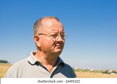 Middle age man on a field