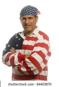 middle age man wearing patriotic American flag shirt and flag bandana do-rag