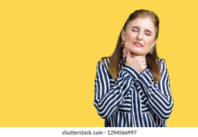 Middle age mature business woman over isolated background shouting and suffocate because painful strangle. Health problem. Asphyxiate and suicide concept.