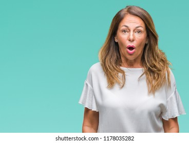 Middle age senior hispanic woman over isolated background afraid and shocked with surprise expression, fear and excited face.