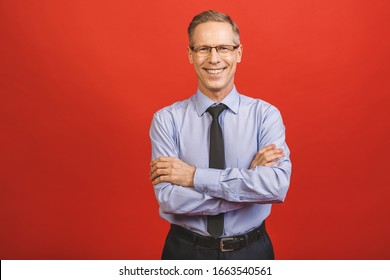 Middle age senior hoary senior man wearing glasses over isolated red background happy face smiling with crossed arms looking at the camera. Positive person.