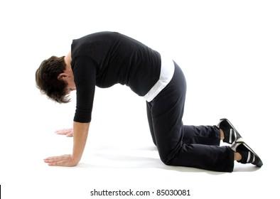 middle age senior woman illustration fitness exercise back press Marjarasana cat pose yoga position