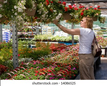 Middle Age Woman Shopping For Flowers At A Garden Center