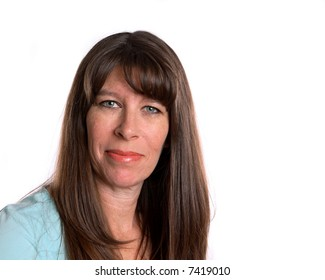 Middle Age woman smiling and looking forward. White background with room for text