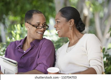 Middle aged African American couple spending time together