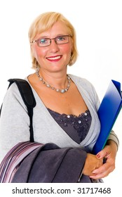 Middle aged attractive businesswoman, secretary.  studio shot, white background