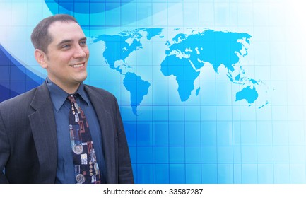 A middle aged business man is looking to the future with a blue background. He is looking at a map of the Earth and has a vision.