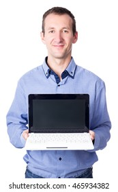 middle aged business man showing laptop with blank screen isolated on white background