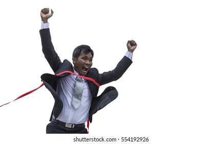 Middle aged Business man Winning crosses the finish line isolate on white background,Asian Business man running into finish line achieving accomplishment