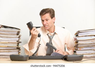 Middle aged businessman in his office