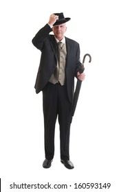 Middle aged  businessman in a retro business suit with umbrella isolated on white.