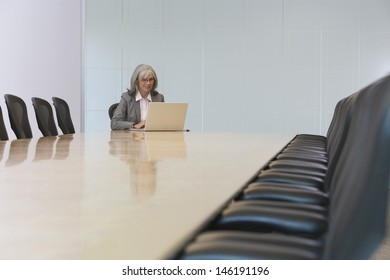 Middle aged businesswoman looking at laptop screen in board room