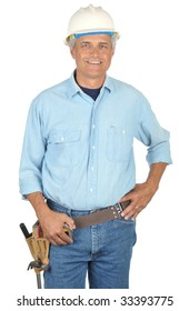 Middle Aged Construction Worker wearing toolbelt and Hard Hat isolated on white