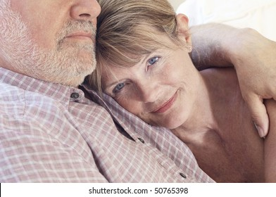 Middle aged couple, close up of woman