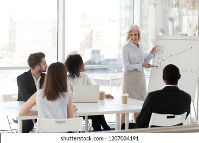 Middle aged female mentor or coach present company plan or strategy on flipchart, mature businesswoman train employees or interns, make presentation on flipchart. Educational training concept