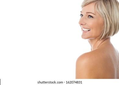 Middle aged female model posing naked